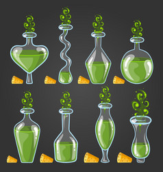 set bottles of potion with magic smoke vector image
