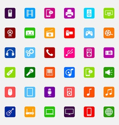 set colorful flat media icons vector image