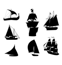 silhouettes of historic sailing ships-2 vector image