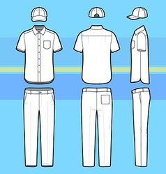 Simple outline drawing of a shirt pants and cap vector image