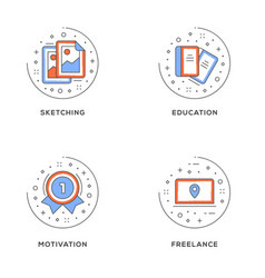 Sketching education motivation freelance set of 4 vector