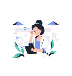 Smart woman working with data vector