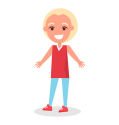 Smiling blonde boy in t-shirt and trousers vector