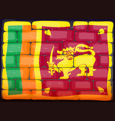 Sri lanka flag on brickwall vector