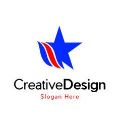Star raising creative media logo design vector