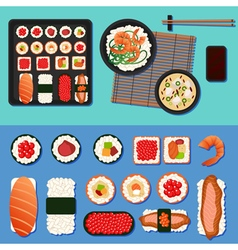 sushi set with different rolls soup and rice vector image