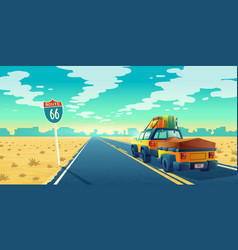 tourist concept - desert with jeep trailer vector image