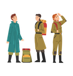 tourists hiking on nature travelers characters in vector image