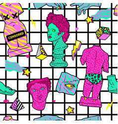 Trendy acid seamless pattern with ancient vector