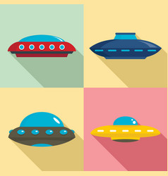 ufo icon set flat style vector image