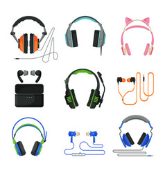various types earphones set headphones vector image