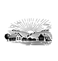 Village with fields and sun vector