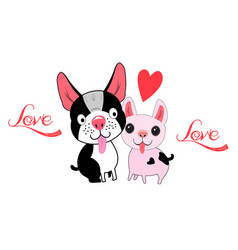 with loving dogs and a heart vector image