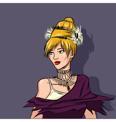 Extravagant portrait of woman high fashion vector image vector image