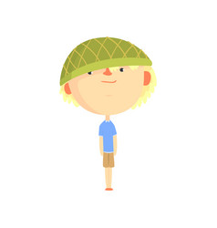funny artoon boy in green hat colorful character vector image vector image