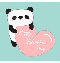 Kawaii panda baby bear Happy Valentines Day Cute vector image