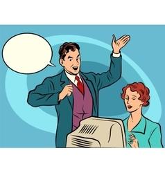 Retro businessman policies secretary dictates the vector