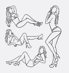 sexy girl pose sketches vector image vector image