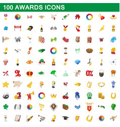 100 awards icons set cartoon style vector image vector image