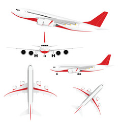 airplane set with red vector image