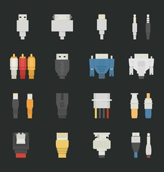 Cable wire computer icons with black background vector