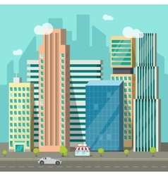 Cityscape city buildings road big skyscrapers vector image