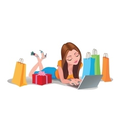 Happy Woman shopping online Internet Shopping vector image