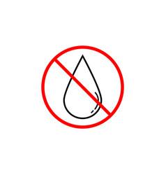 no water drop line icon prohibition sign vector image