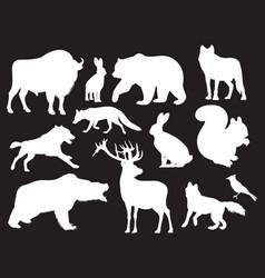 wild animals silhouettes set vector image