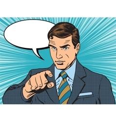 Businessman index retro poster vector image vector image