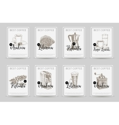 Coffee poster set llustrations in sketch vector image