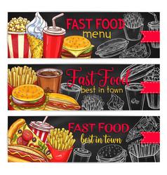fast food restaurant menu chalkboard banner set vector image