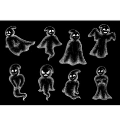 Halloween funny ghosts chalk cartoon icons vector image vector image