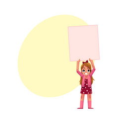 little girl child kid holding blank empty poster vector image vector image