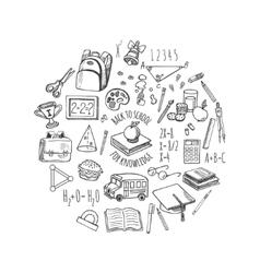 School tools sketch in a circle design vector image vector image