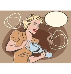 The waitress pours tea pastel retro colors vector image vector image