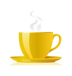 yellow tea cup vector image vector image