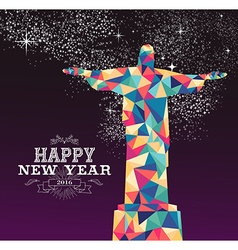 Happy new year 2016 brazil color triangle hipster vector image
