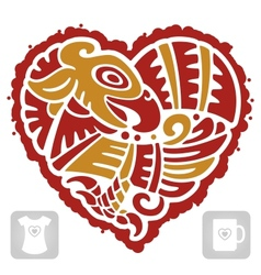 Indian pattern of bird in the shape of heart vector image