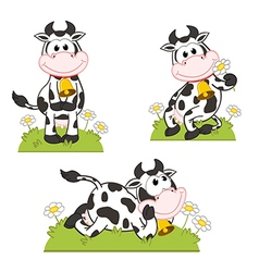 Set of isolated cow in meadow vector