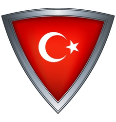 steel shield with flag republic of turkey vector image vector image