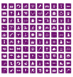 100 children icons set grunge purple vector image