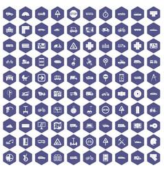100 location icons hexagon purple vector
