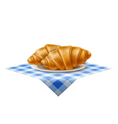 3d french croissant dish at blue tablecloth vector