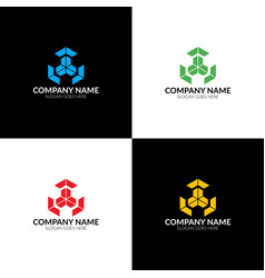 abstract cube logo icon flat and vector image