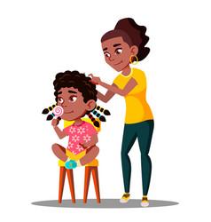 Afro american woman braids dreadlocks of vector