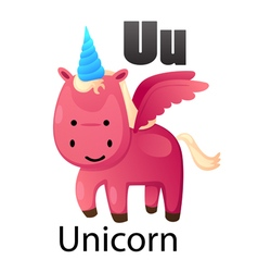 Alphabet U with unicorn vector image