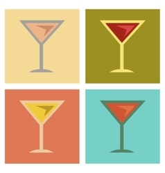 Assembly flat icons martini glass vector