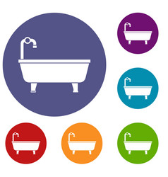 bathtub icons set vector image