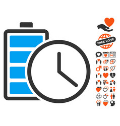 Battery time icon with dating bonus vector